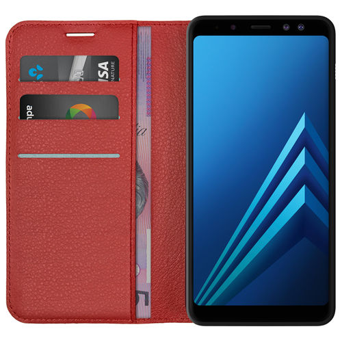 Leather Wallet Card Holder Case for Samsung Galaxy A8 (2018) - Red